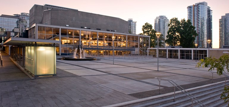 The Queen Elizabeth Theatre Plaza in the evening